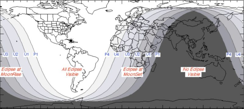 Lunar Eclipse January 2019 Map